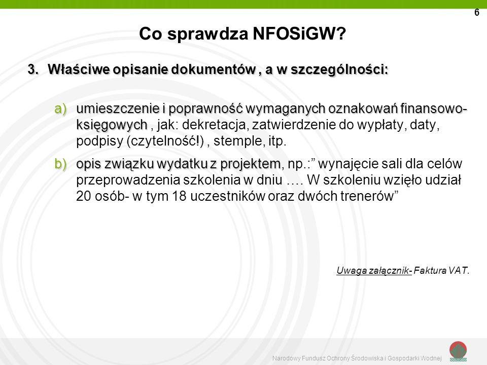 Co sprawdza NFOSiGW Właściwe opisanie dokumentów , a w szczególności: