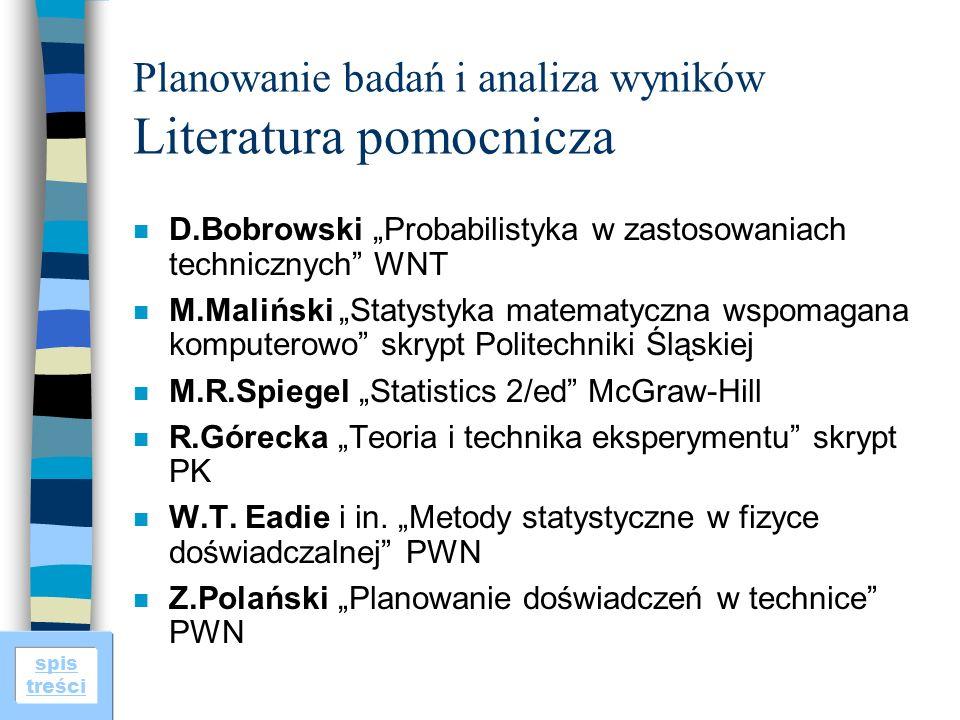 Planowanie badań i analiza wyników Literatura pomocnicza