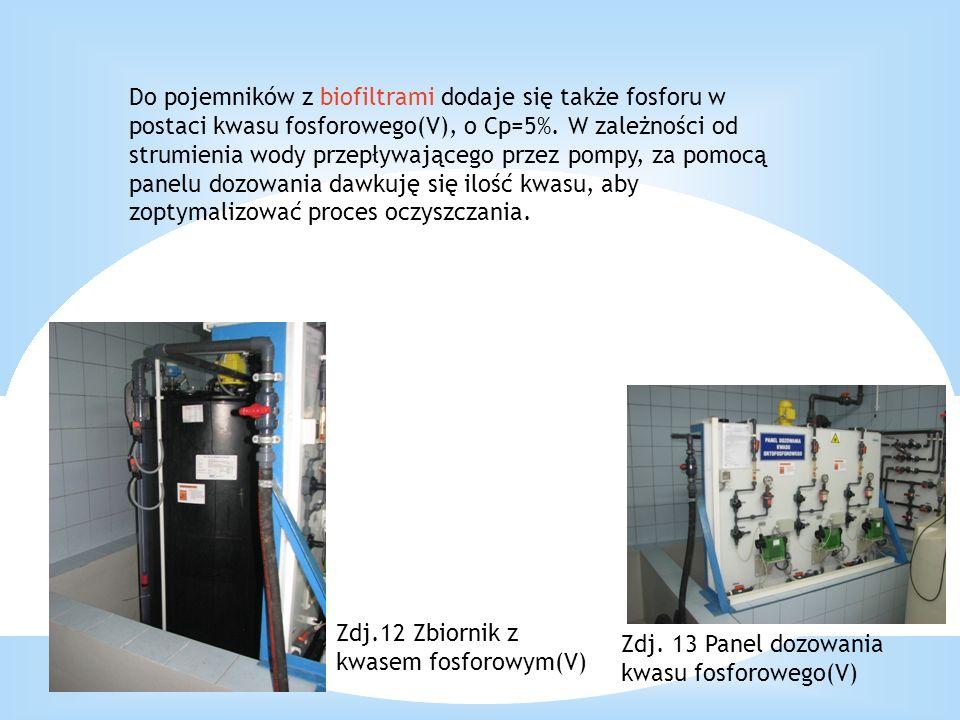 Do pojemników z biofiltrami dodaje się także fosforu w postaci kwasu fosforowego(V), o Cp=5%. W zależności od strumienia wody przepływającego przez pompy, za pomocą panelu dozowania dawkuję się ilość kwasu, aby zoptymalizować proces oczyszczania.