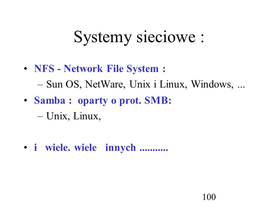 Systemy sieciowe : NFS - Network File System :