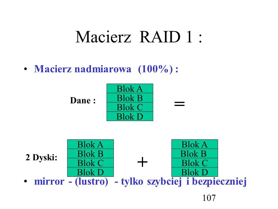 = + Macierz RAID 1 : Macierz nadmiarowa (100%) :