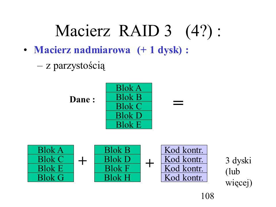 = Macierz RAID 3 (4 ) : + + Macierz nadmiarowa (+ 1 dysk) :