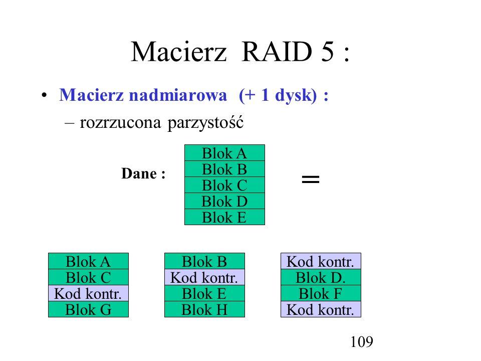 = Macierz RAID 5 : Macierz nadmiarowa (+ 1 dysk) :
