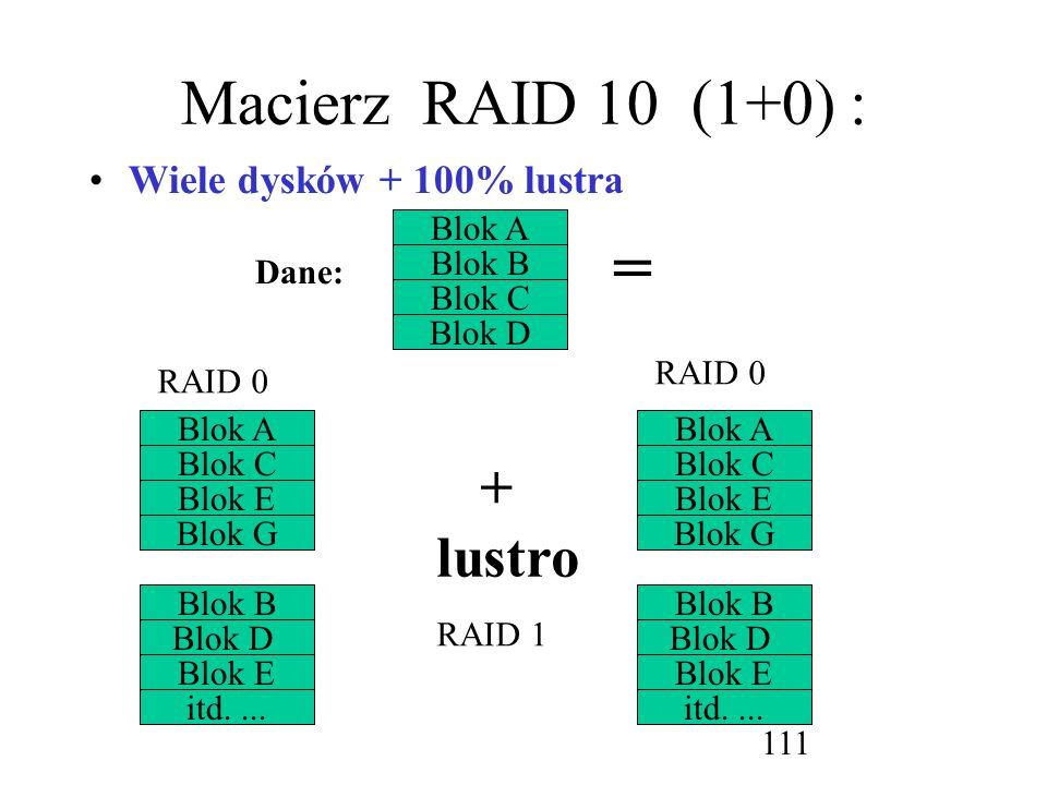 = Macierz RAID 10 (1+0) : + lustro Wiele dysków + 100% lustra Blok A
