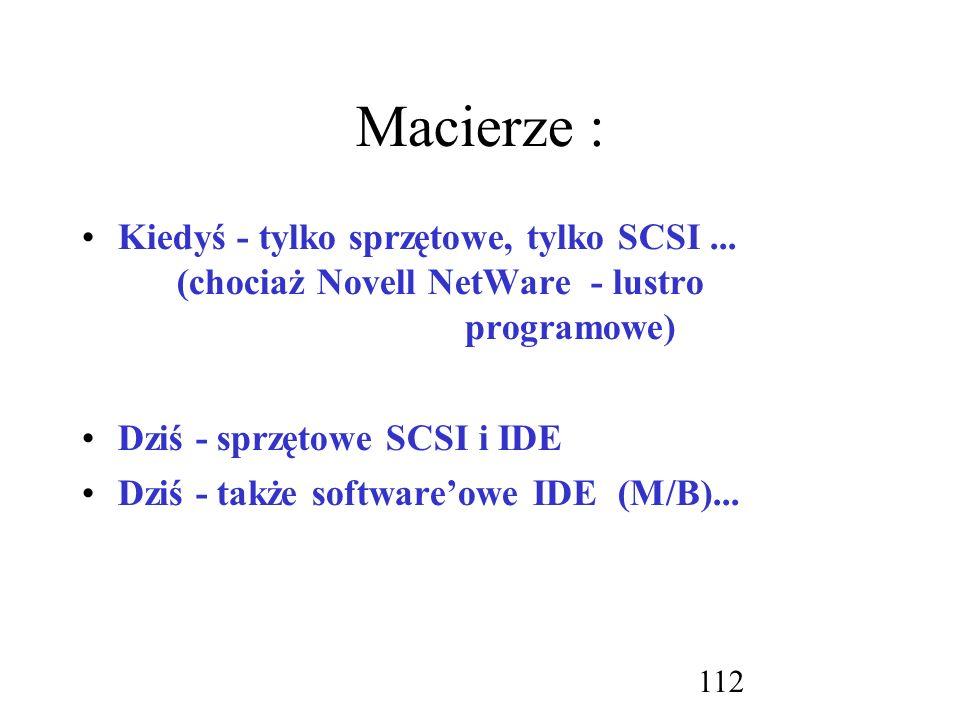 Macierze : Kiedyś - tylko sprzętowe, tylko SCSI ... (chociaż Novell NetWare - lustro programowe)