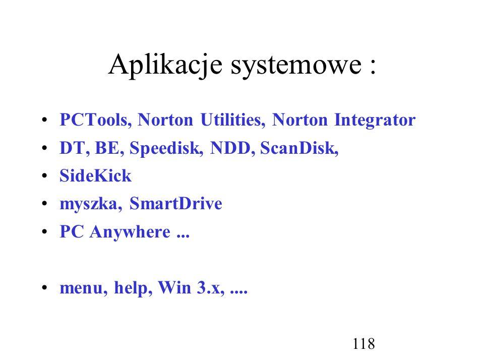 Aplikacje systemowe : PCTools, Norton Utilities, Norton Integrator