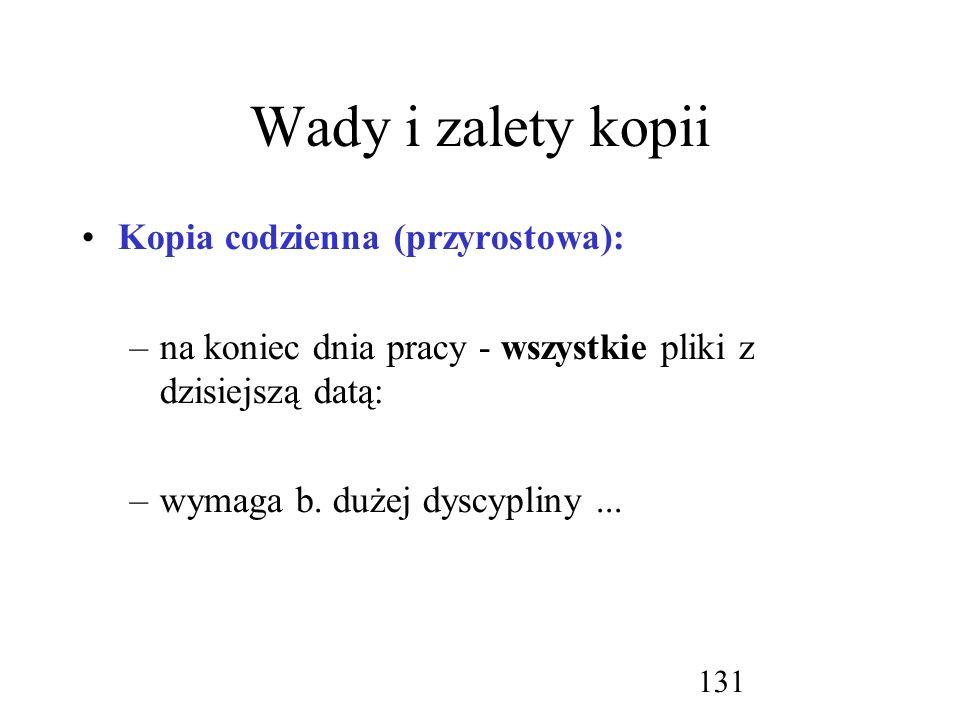 Wady i zalety kopii Kopia codzienna (przyrostowa):
