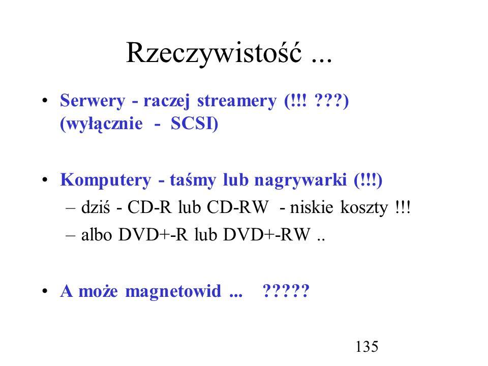 Rzeczywistość ... Serwery - raczej streamery (!!! ) (wyłącznie - SCSI) Komputery - taśmy lub nagrywarki (!!!)