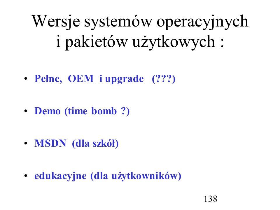 Wersje systemów operacyjnych i pakietów użytkowych :