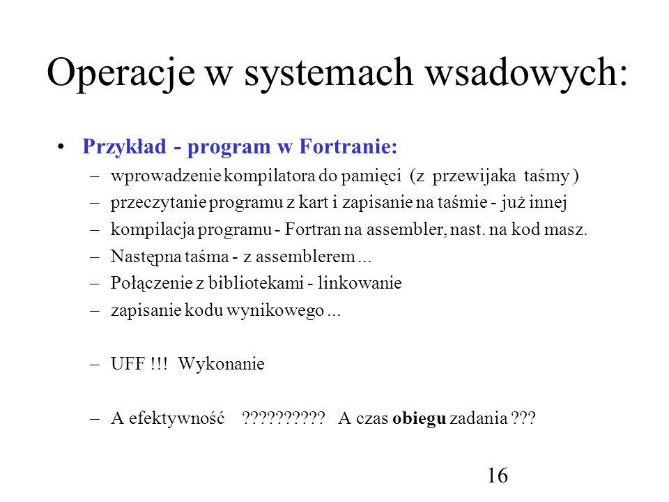 Operacje w systemach wsadowych: