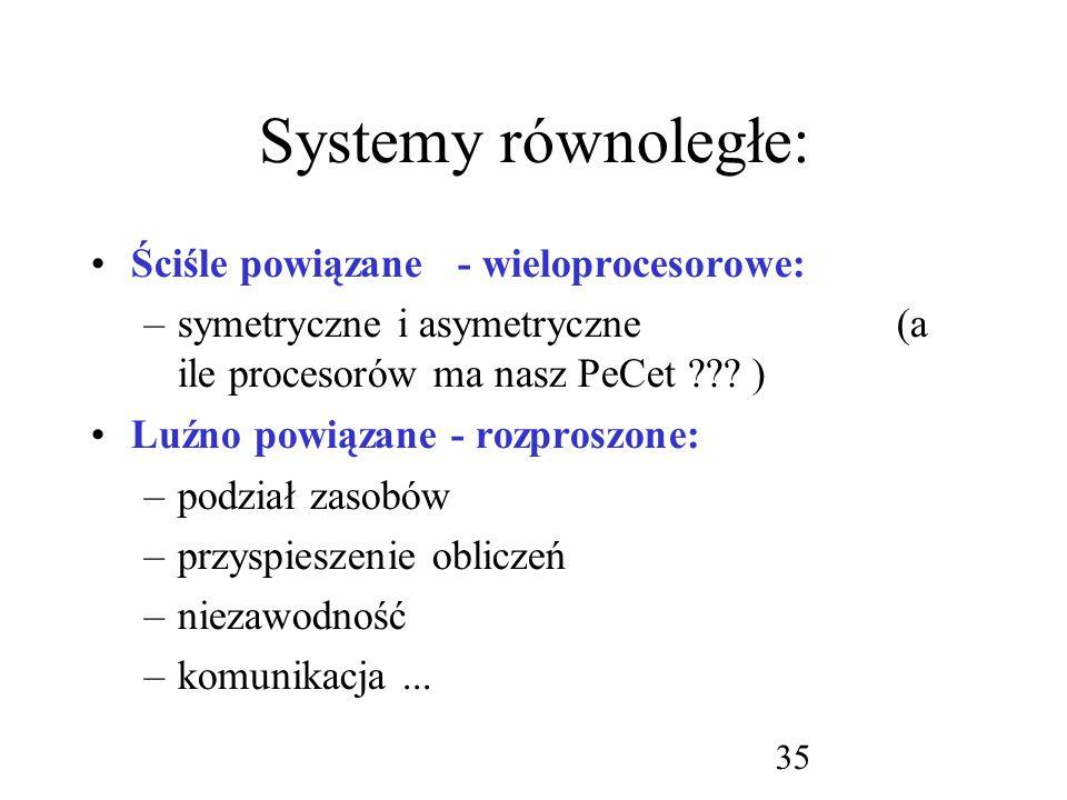 Systemy równoległe: Ściśle powiązane - wieloprocesorowe: