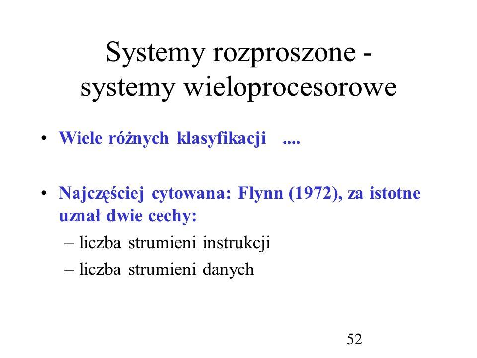 Systemy rozproszone - systemy wieloprocesorowe