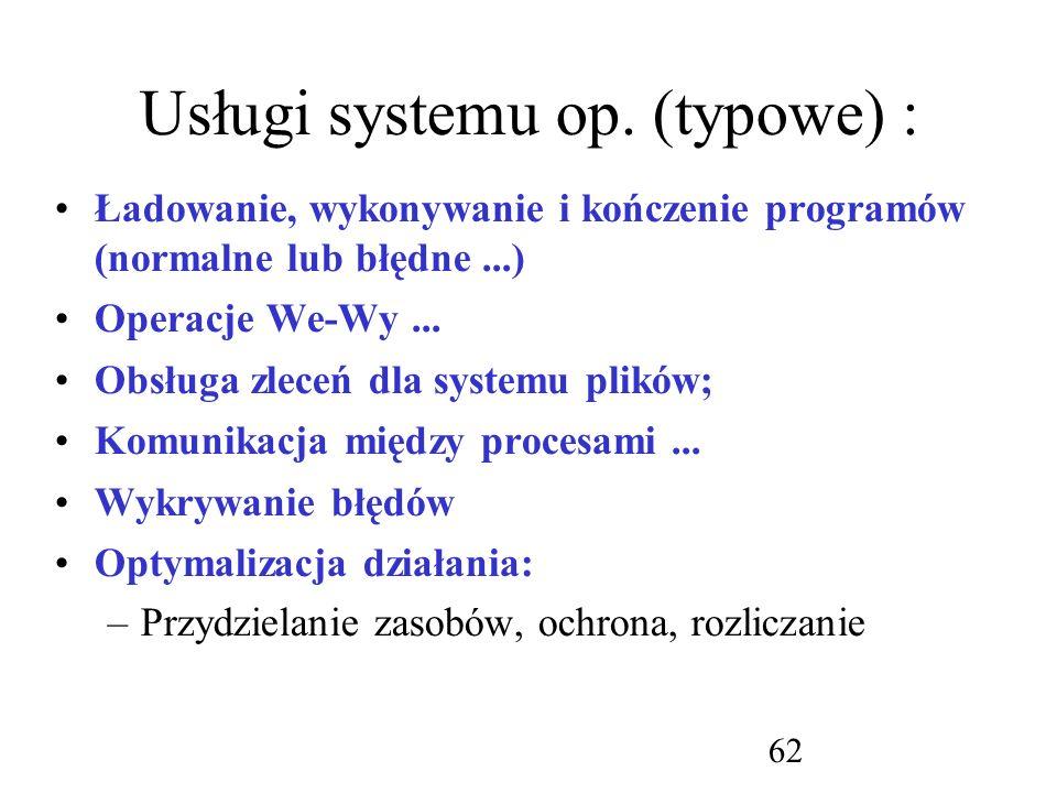 Usługi systemu op. (typowe) :