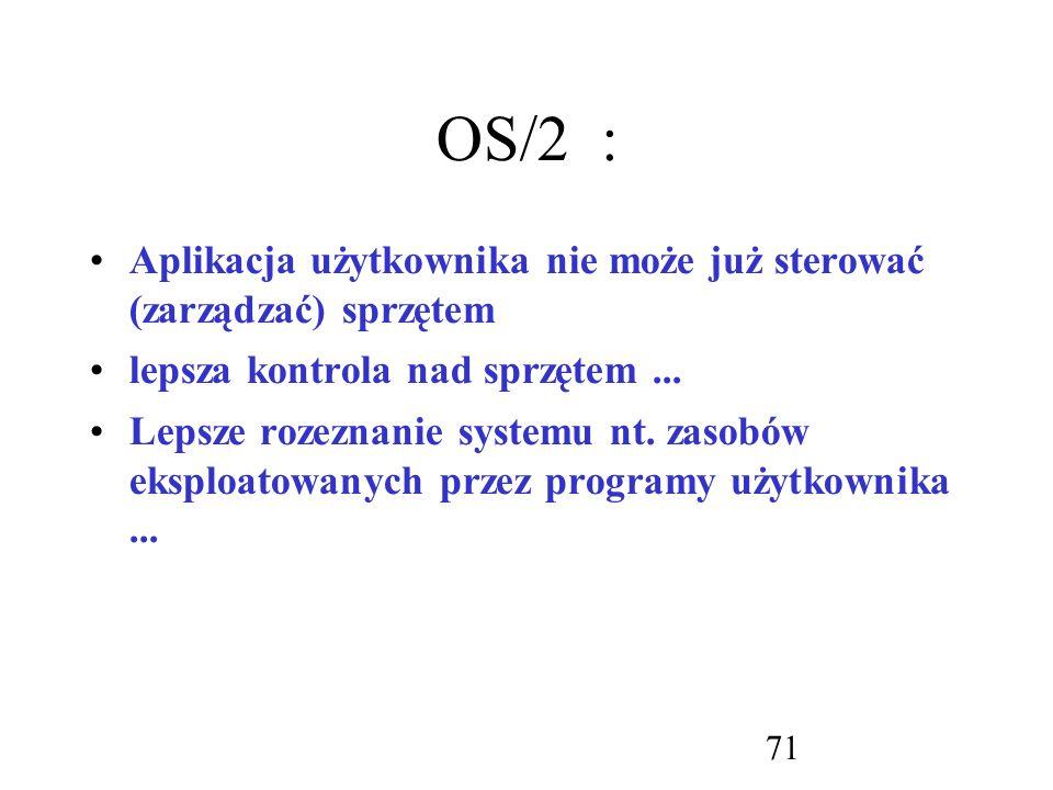OS/2 : Aplikacja użytkownika nie może już sterować (zarządzać) sprzętem. lepsza kontrola nad sprzętem ...
