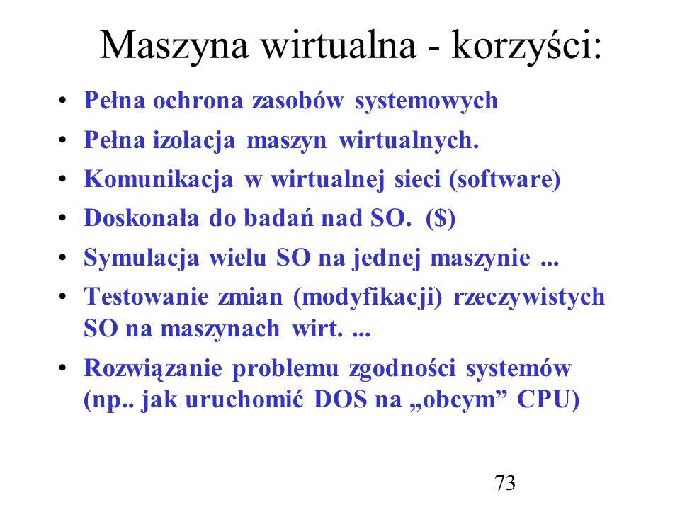 Maszyna wirtualna - korzyści: