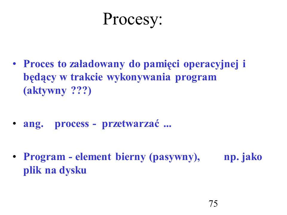 Procesy: Proces to załadowany do pamięci operacyjnej i będący w trakcie wykonywania program (aktywny )