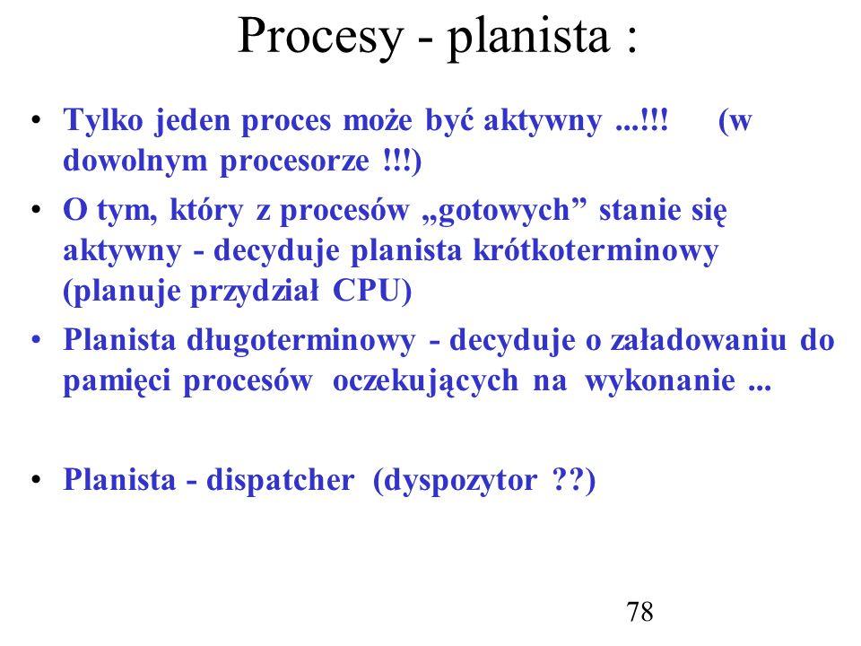 Procesy - planista : Tylko jeden proces może być aktywny ...!!! (w dowolnym procesorze !!!)