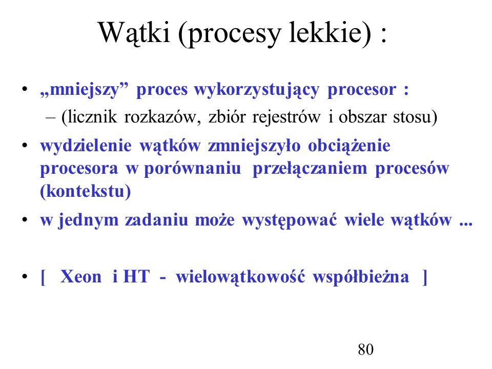 Wątki (procesy lekkie) :