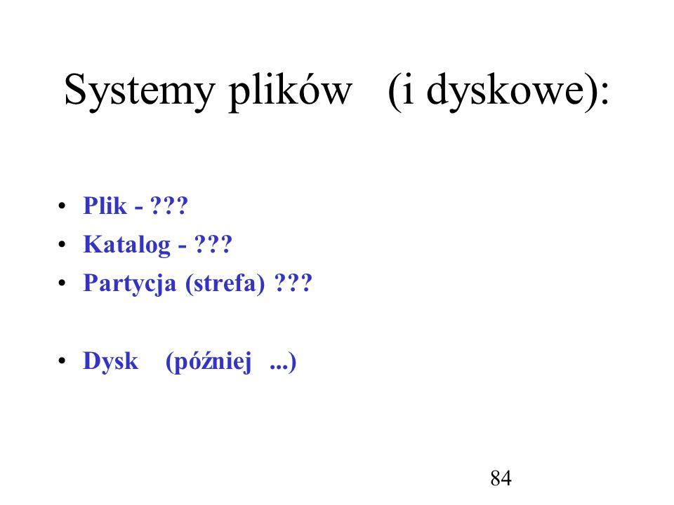 Systemy plików (i dyskowe):