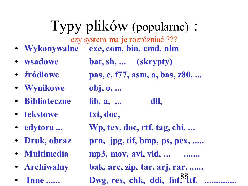 Typy plików (popularne) : czy system ma je rozróżniać
