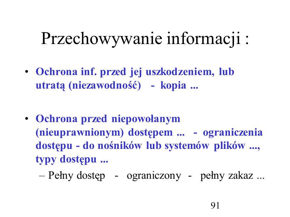 Przechowywanie informacji :