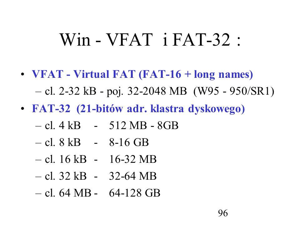 Win - VFAT i FAT-32 : VFAT - Virtual FAT (FAT-16 + long names)