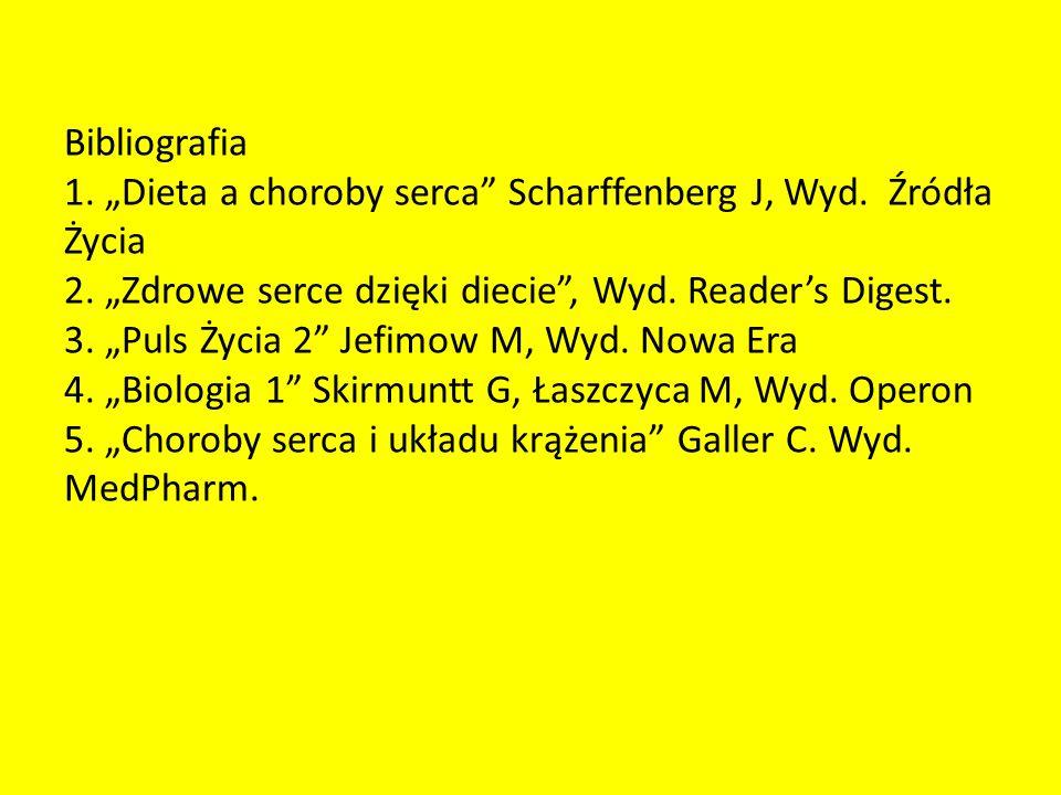 """Bibliografia 1. """"Dieta a choroby serca Scharffenberg J, Wyd"""