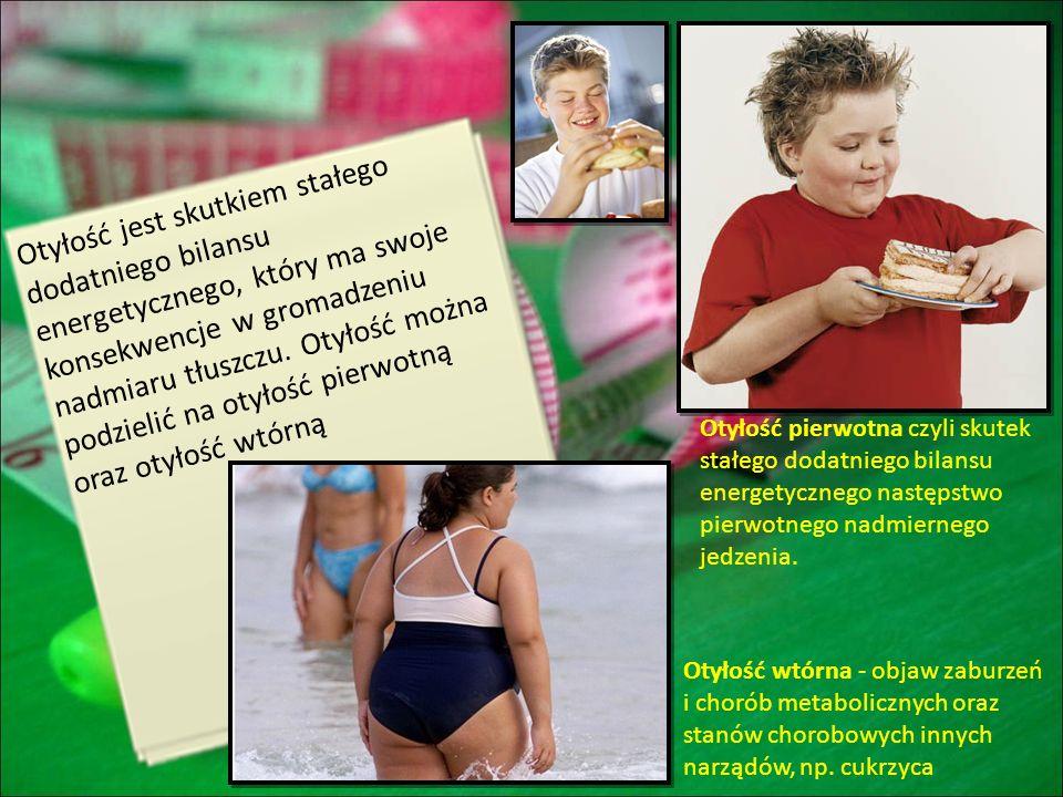 Otyłość jest skutkiem stałego dodatniego bilansu energetycznego, który ma swoje konsekwencje w gromadzeniu nadmiaru tłuszczu. Otyłość można podzielić na otyłość pierwotną oraz otyłość wtórną