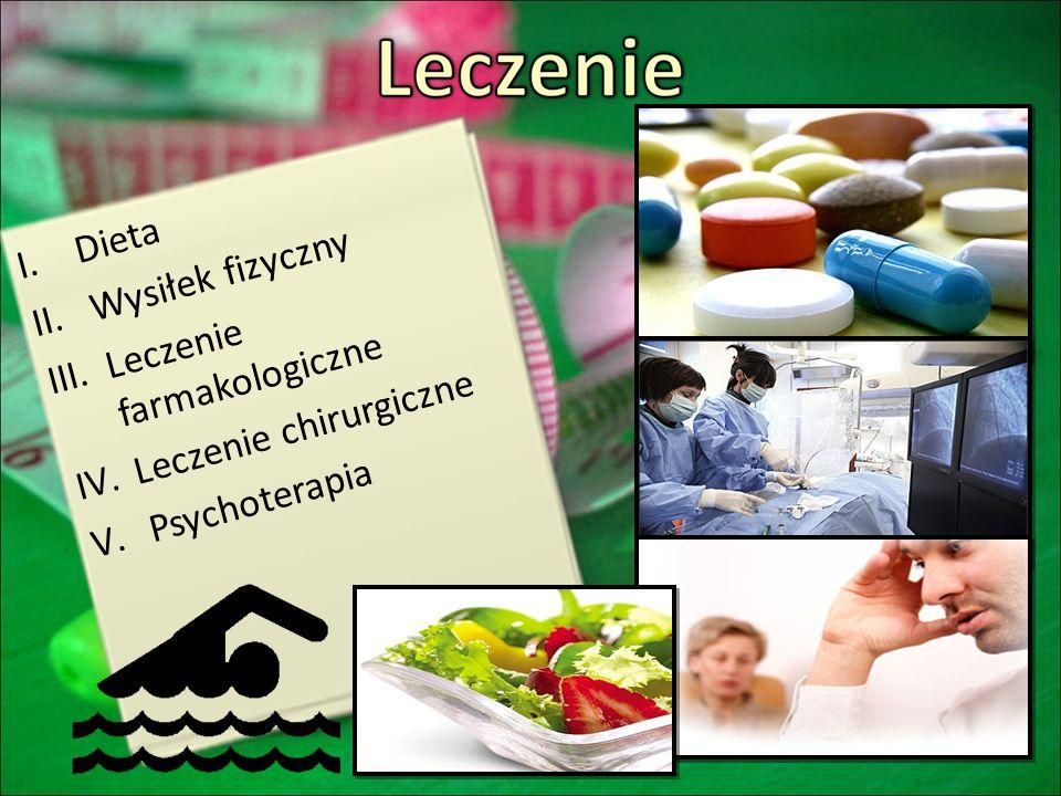 Dieta Wysiłek fizyczny Leczenie farmakologiczne Leczenie chirurgiczne Psychoterapia