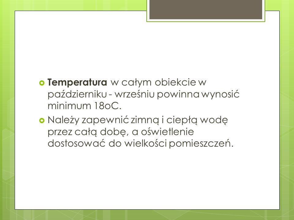 Temperatura w całym obiekcie w październiku - wrześniu powinna wynosić minimum 18oC.