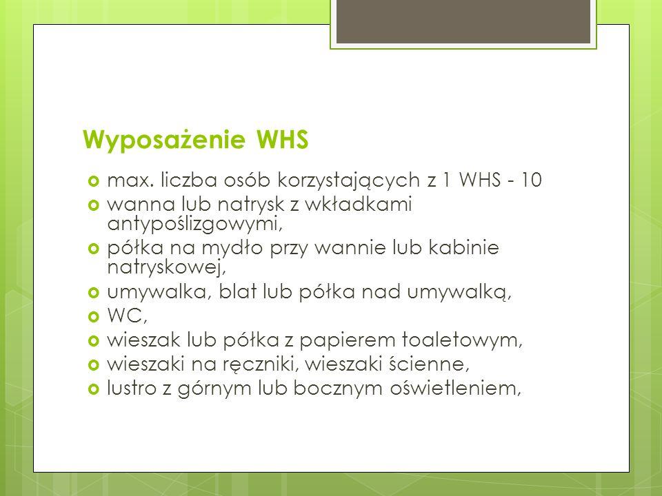 Wyposażenie WHS max. liczba osób korzystających z 1 WHS - 10