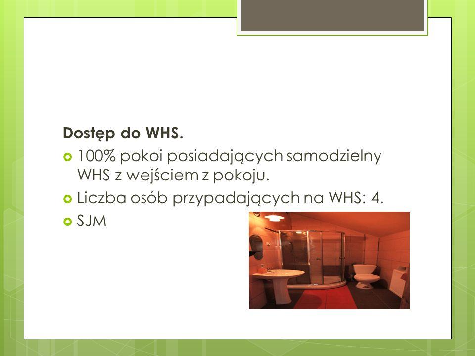 Dostęp do WHS. 100% pokoi posiadających samodzielny WHS z wejściem z pokoju. Liczba osób przypadających na WHS: 4.