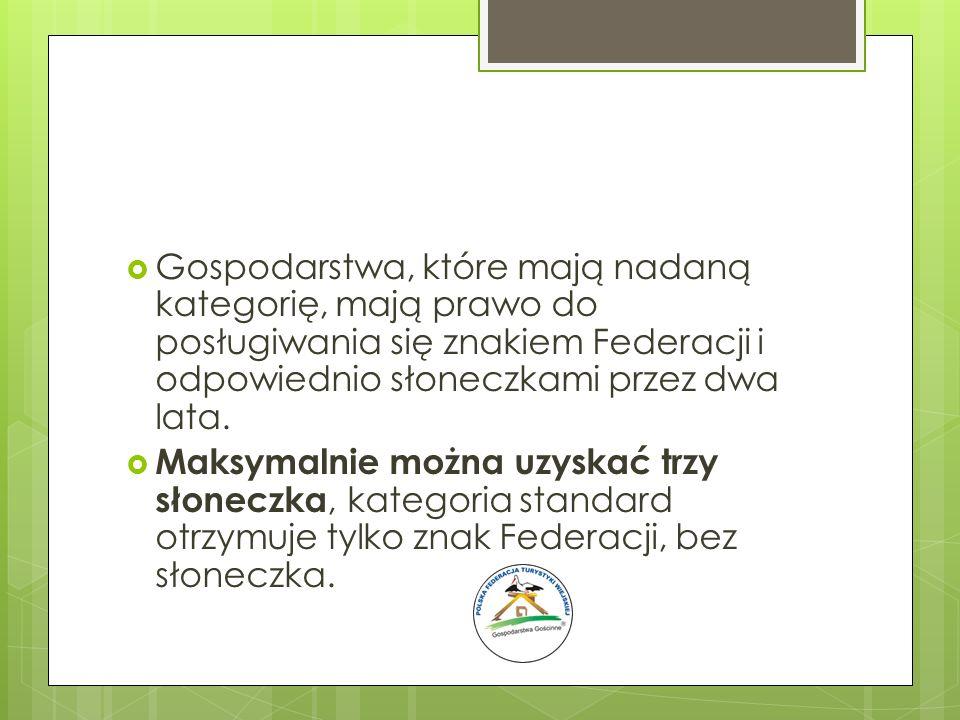 Gospodarstwa, które mają nadaną kategorię, mają prawo do posługiwania się znakiem Federacji i odpowiednio słoneczkami przez dwa lata.
