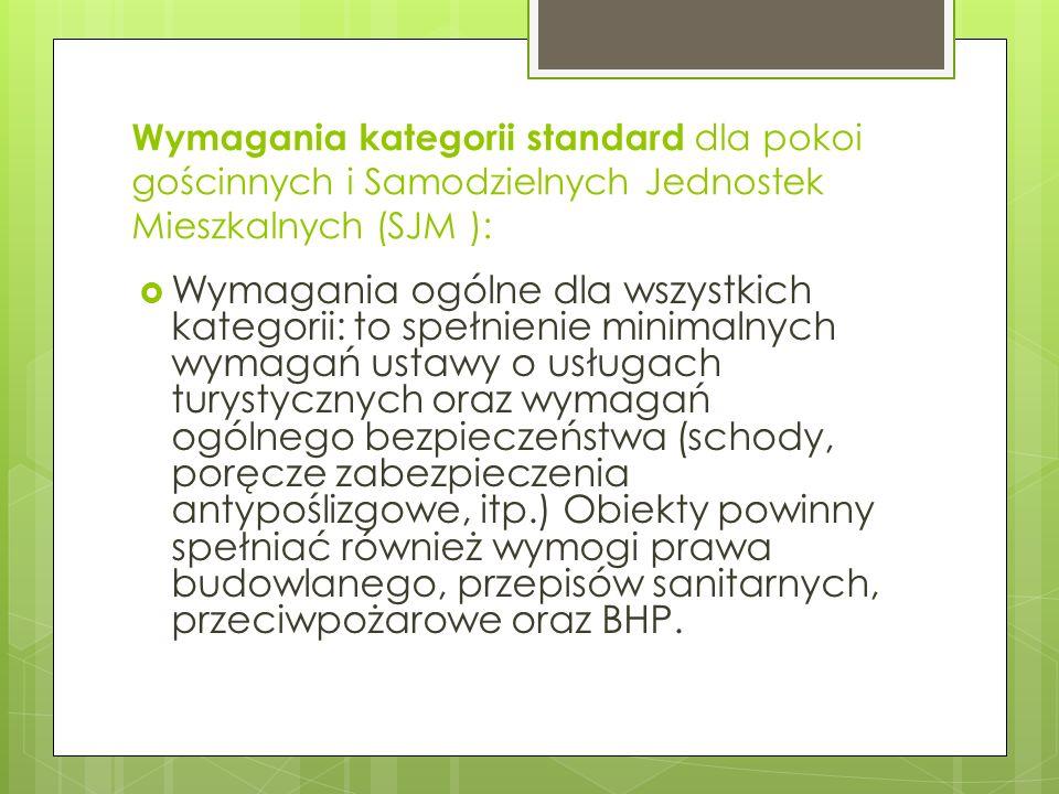 Wymagania kategorii standard dla pokoi gościnnych i Samodzielnych Jednostek Mieszkalnych (SJM ):