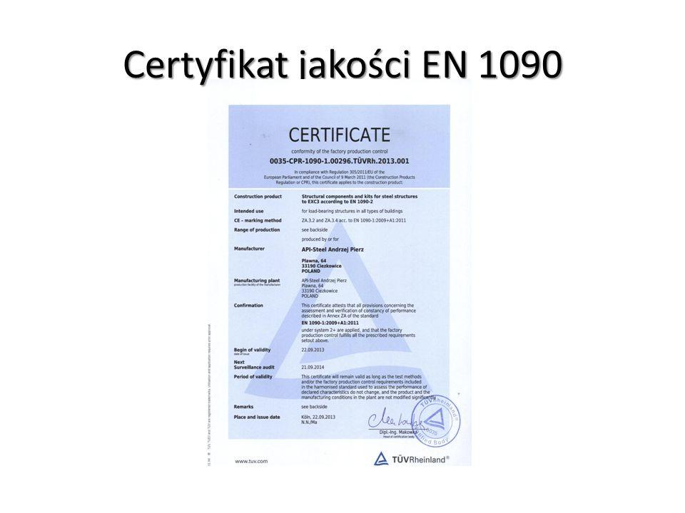 Certyfikat jakości EN 1090