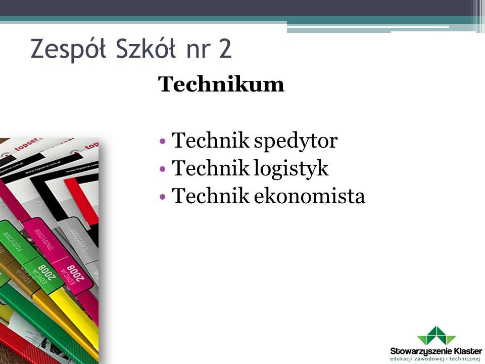 Zespół Szkół nr 2 Technikum Technik spedytor Technik logistyk