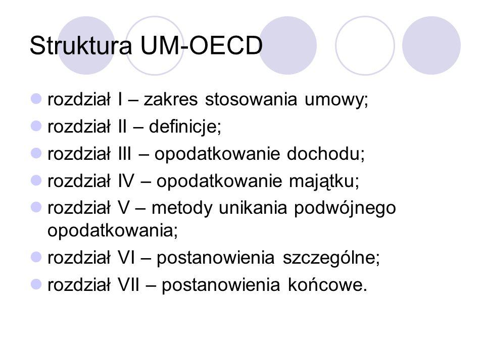 Struktura UM-OECD rozdział I – zakres stosowania umowy;