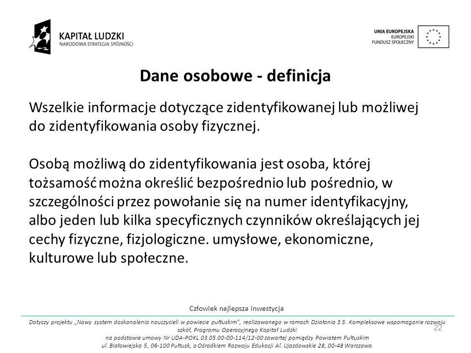 Dane osobowe - definicja