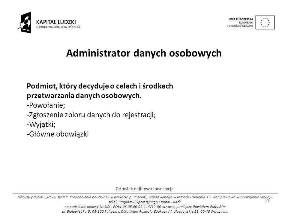 Administrator danych osobowych