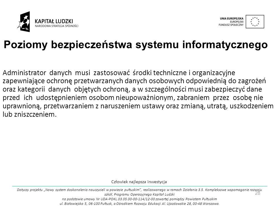 Poziomy bezpieczeństwa systemu informatycznego