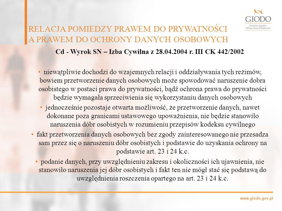 Cd - Wyrok SN – Izba Cywilna z 28.04.2004 r. III CK 442/2002
