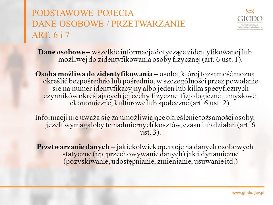 DANE OSOBOWE / PRZETWARZANIE ART. 6 i 7