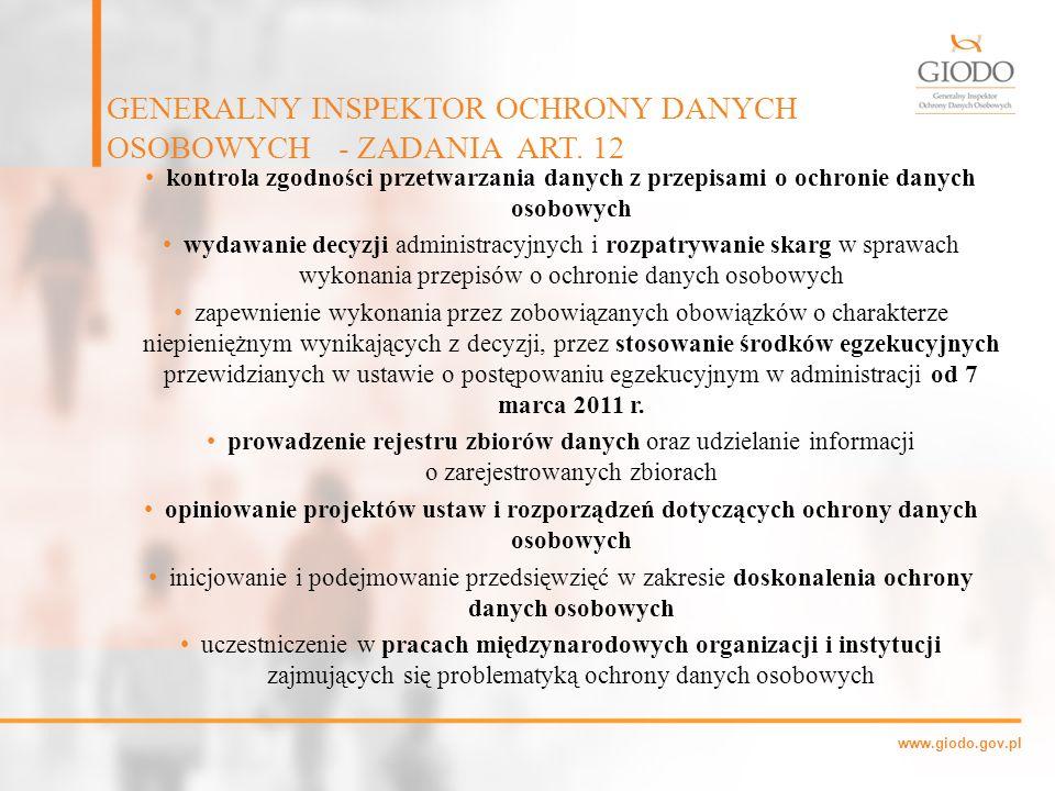 GENERALNY INSPEKTOR OCHRONY DANYCH OSOBOWYCH - ZADANIA ART. 12