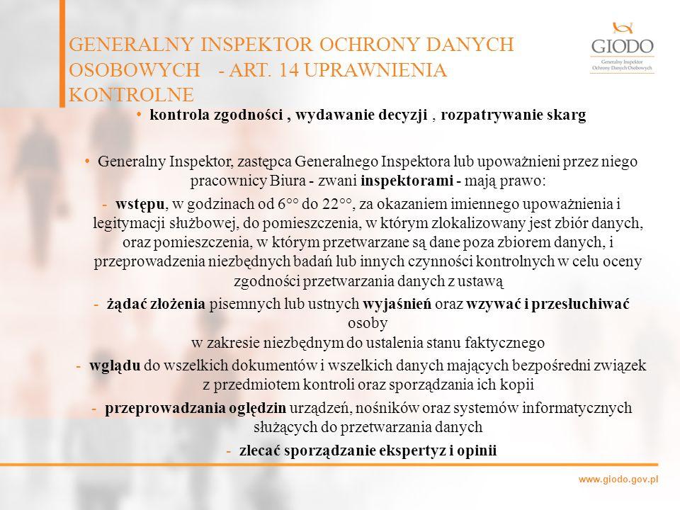 GENERALNY INSPEKTOR OCHRONY DANYCH OSOBOWYCH - ART