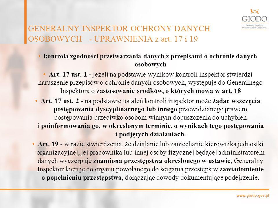 GENERALNY INSPEKTOR OCHRONY DANYCH OSOBOWYCH - UPRAWNIENIA z art