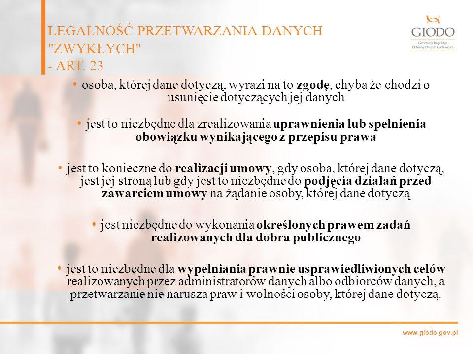 LEGALNOŚĆ PRZETWARZANIA DANYCH ZWYKŁYCH - ART. 23
