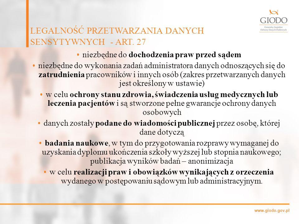 LEGALNOŚĆ PRZETWARZANIA DANYCH SENSYTYWNYCH - ART. 27