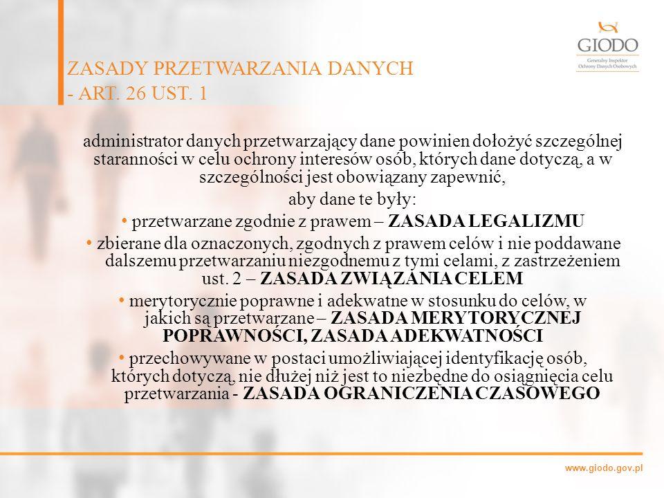 ZASADY PRZETWARZANIA DANYCH - ART. 26 UST. 1