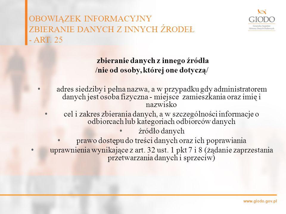 OBOWIĄZEK INFORMACYJNY ZBIERANIE DANYCH Z INNYCH ŹRODEŁ - ART. 25