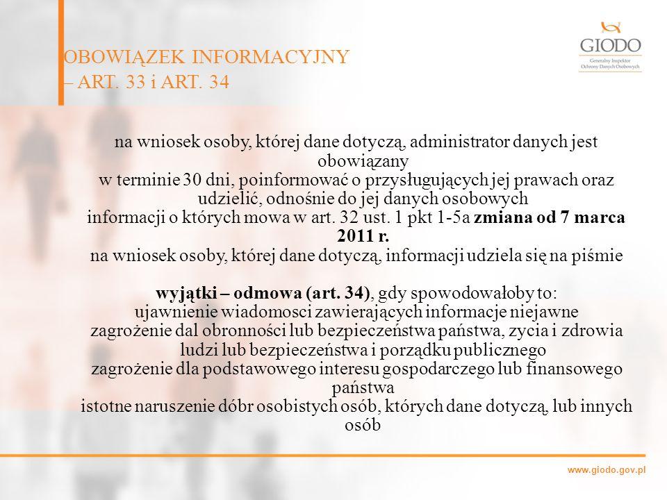 OBOWIĄZEK INFORMACYJNY – ART. 33 i ART. 34